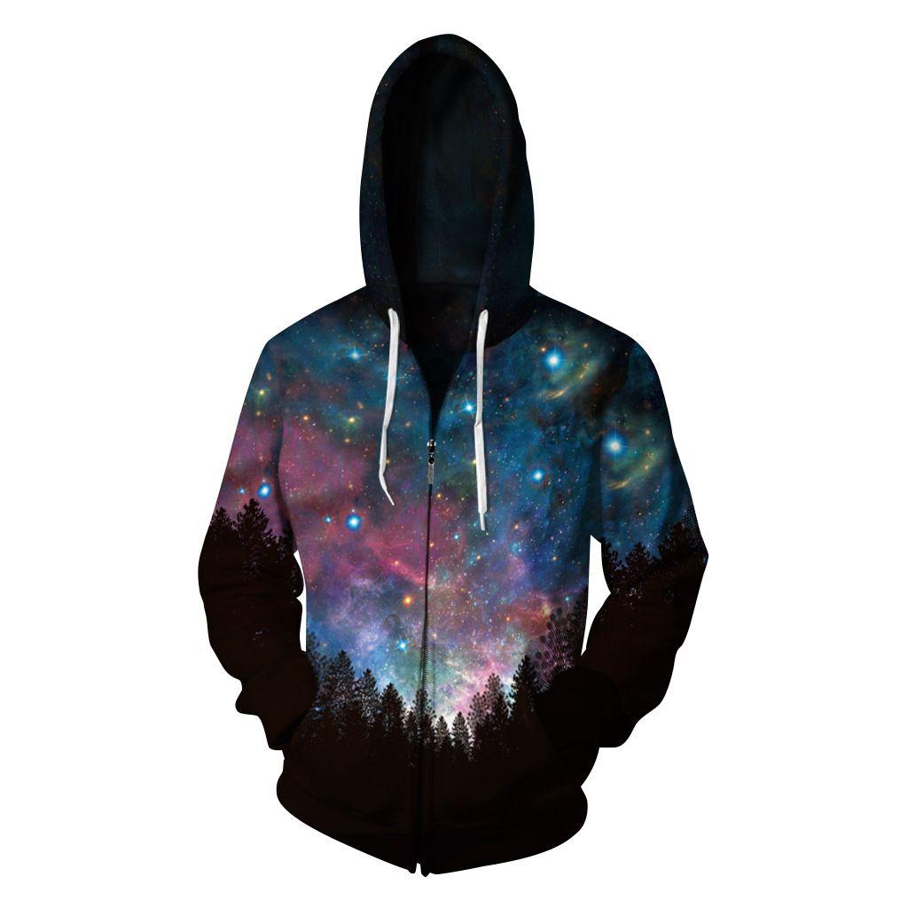 39932f1fa924 Men Harajuku Jacket Galaxy Space 3d Zipper Hoodie Sweatshirt Unisex ...