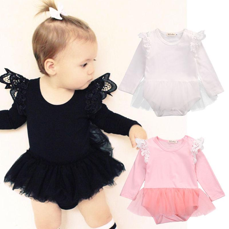 00e27fab54a3 2019 Cute Newborn Baby Girl Lace Romper 2017 Fly Long Sleeve Cotton ...