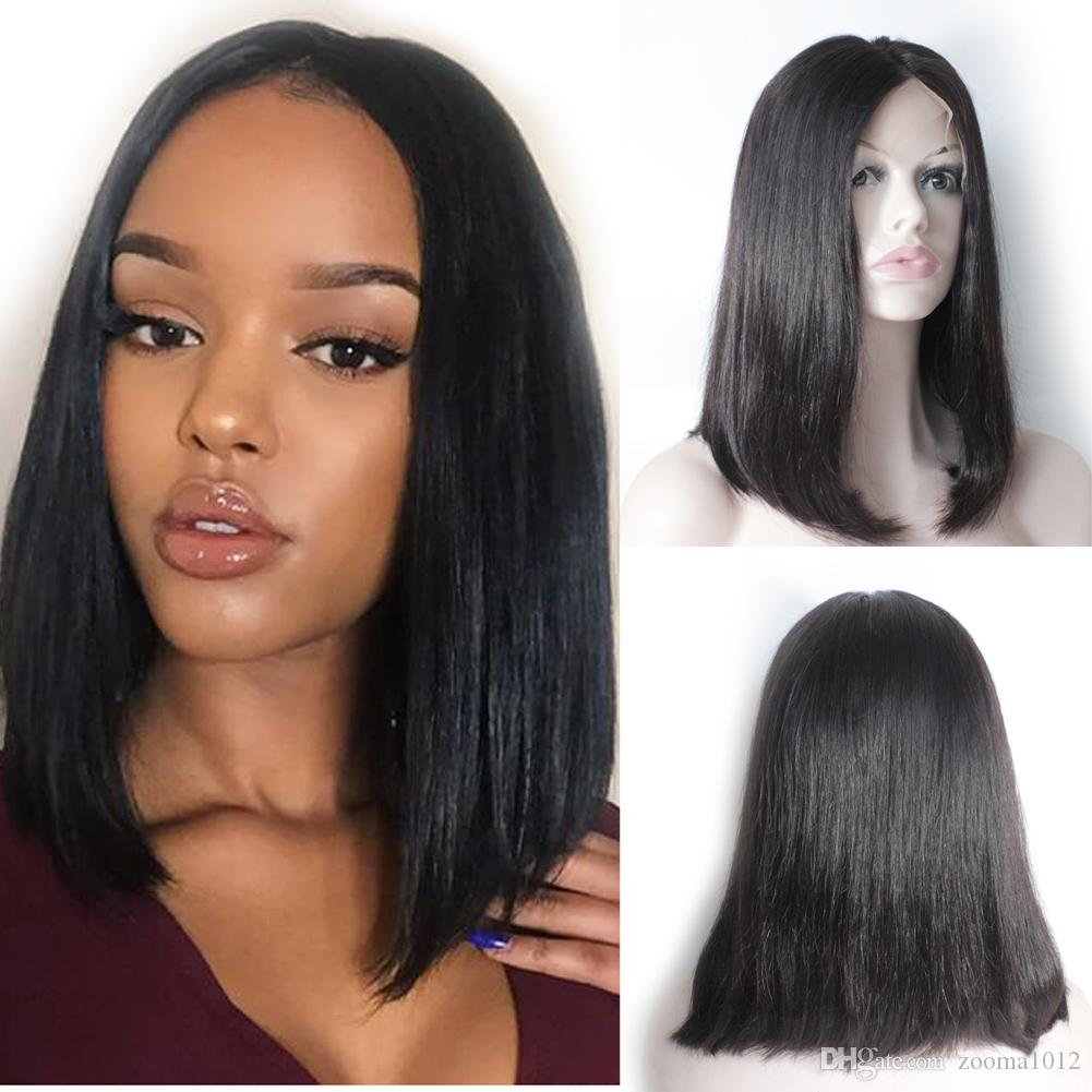 d805594c1 Forawme 150% Density Pre Plucked Straight Human Hair Bob Wigs For Women #1B  Natural Black Lace Front Wigs Middle Size Cap Real Virgi Uk Lace Wigs Lace  Wig ...