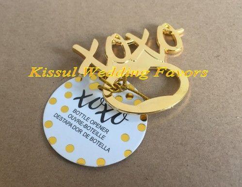 Gold wedding decoration favors of XOXO Gold Bottle Opener Bridal shower favors for Wedding gift favors