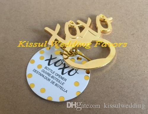 Gold wedding souvenirs gift of XOXO Gold Bottle Opener Party favors for wedding door gift and Bridal favors
