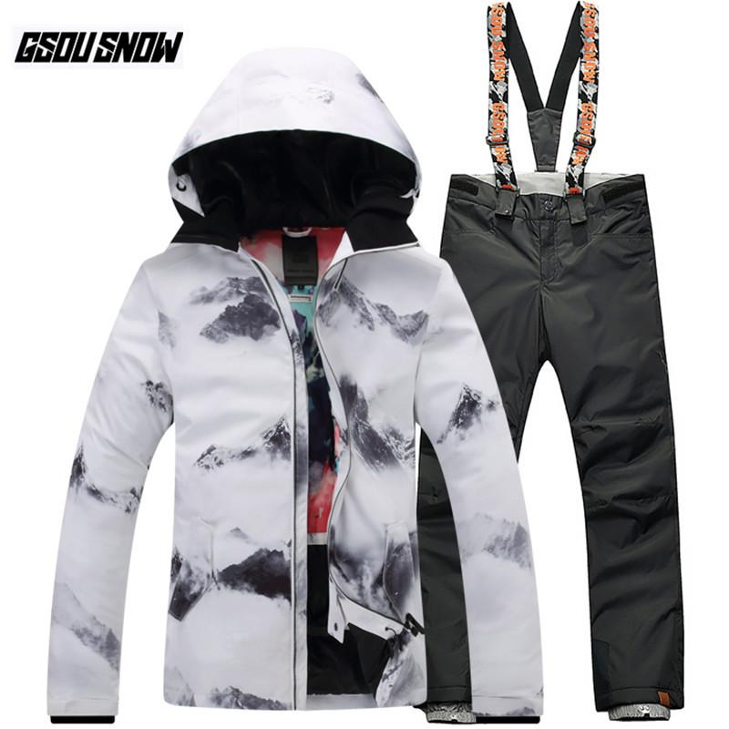0777165f05 2019 GSOU SNOW Brand Ski Suit Women Ski Jackets Snowboard Pants Winter  Waterproof Skiing Suits Warm Snowboarding Sets Snow Clothes From  Xuelianguo
