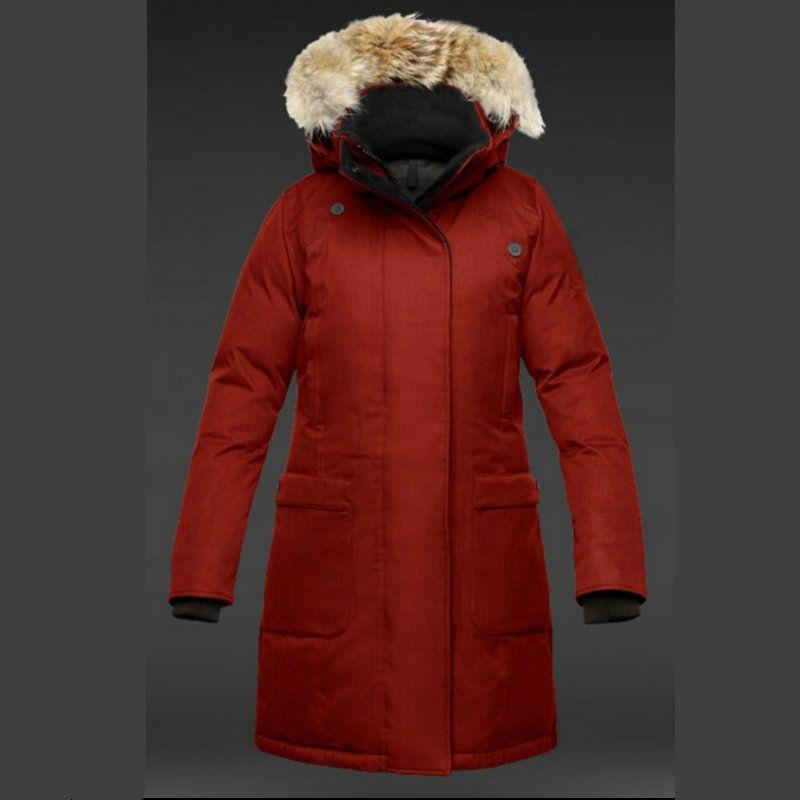 Gray Women Long Coat Top Quality 100% Down Jacket Real Raccoon Fur Collar Hood Canadian Ladies Windbreaker Plus Size Anorak