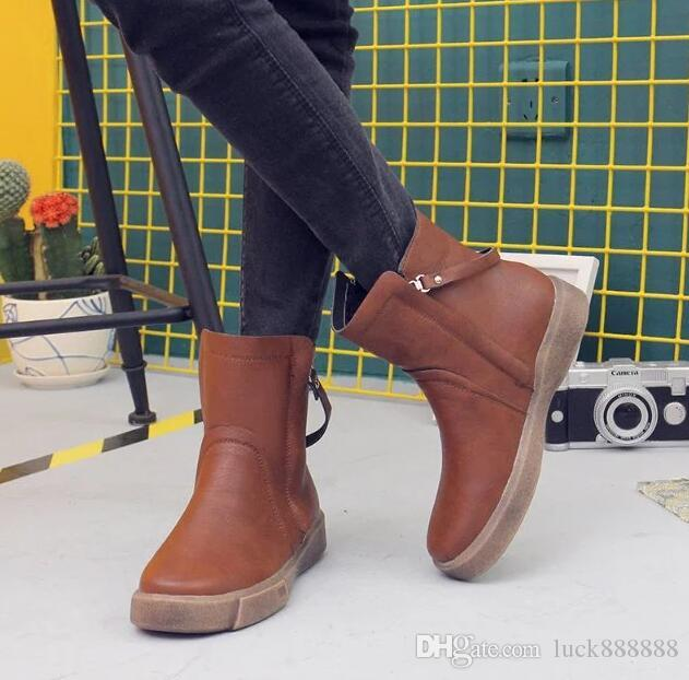 20ac43003029 Ladies' Boots 2018 Euro, Autumn And Winter New Pure Color Double Zipper Short  Boots Female Flat Bottom Anti Slip Soft PU Student Martin Boot Office Shoes  ...