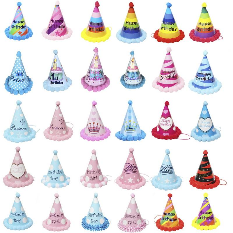Urijk Happy Birthday Paper Cone Hats Dress Up Girls Boy My First Party Xmas Supplies Decor Colorful 1st