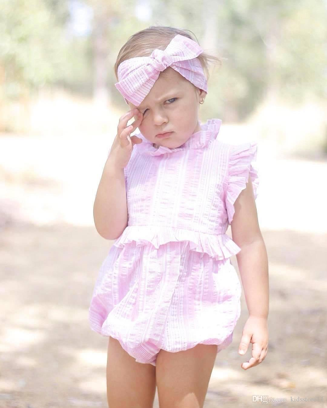 9cc0e475334 2019 2018 Baby Girls Rompers Sets Cotton Pink Toddler Romper+ Headbands Set  Summer Cute Infant Onesies Newest Boutique Clothes From Kidsstore11