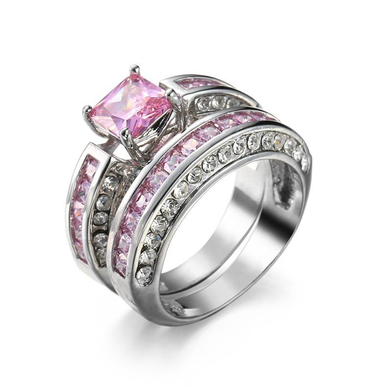 a563af2ed Compre Anel De Diamante Rosa Asscher Anéis De Noivado De Corte De Ouro  Branco Anéis Anel De Zircão Rosa Para As Mulheres Anel De Strass Jóias De  Jonely