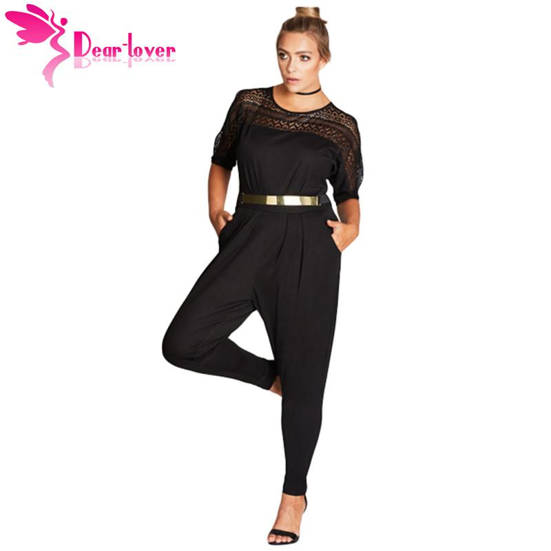 2019 Dear Lover Long Jumpsuit 2018 Overall Black Short Sleeve Lace