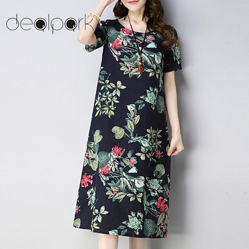 037166bbb2 Korean Fashion Women Cotton Linen Dress Floral Printed Short Sleeve Pockets  Casual Loose Midi Ethnic Summer Dresses Vestidos 2XL White Dress With  Flowers ...