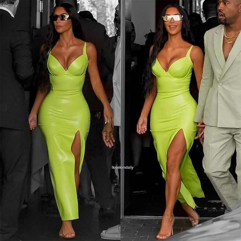897dd93b9fca6 Ohvera Kim Kardashian Synthetic Leather Halter Split Bodycon Dress Women  Summer Party Dresses Sexy Backless Maxi Long Dress