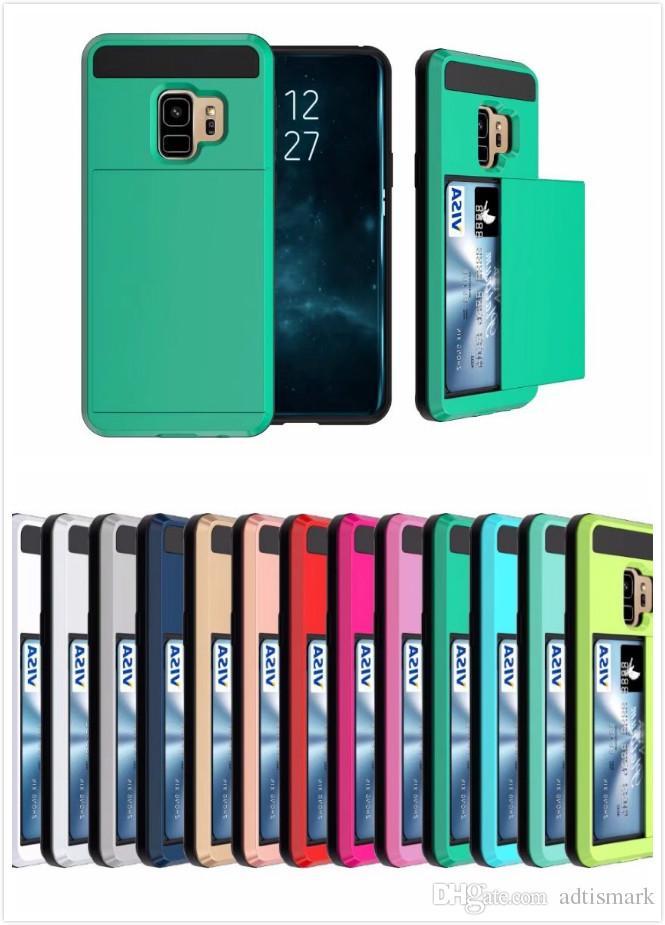 917c9bee9dc8 Accesorios Celular Venta Al Por Mayor De Hybrid Armor Card Slide Case  Ranura Para Tarjeta Monedero PCTPU Contraportada Para Iphone 6 7 8   X Plus  Samsung S8 ...