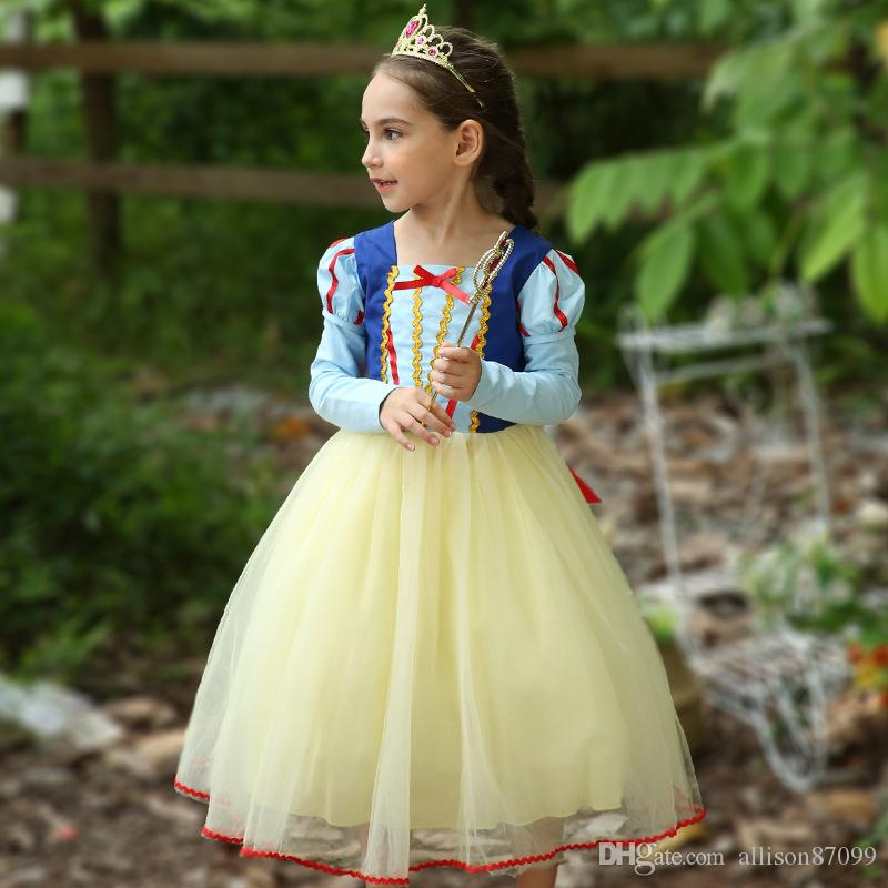 2018 Girls Snow White Princess Dress Christmas Halloween Costume Kids Party Ball Gown Long sleeve Cosplay 2018 Fall winter Free DHL