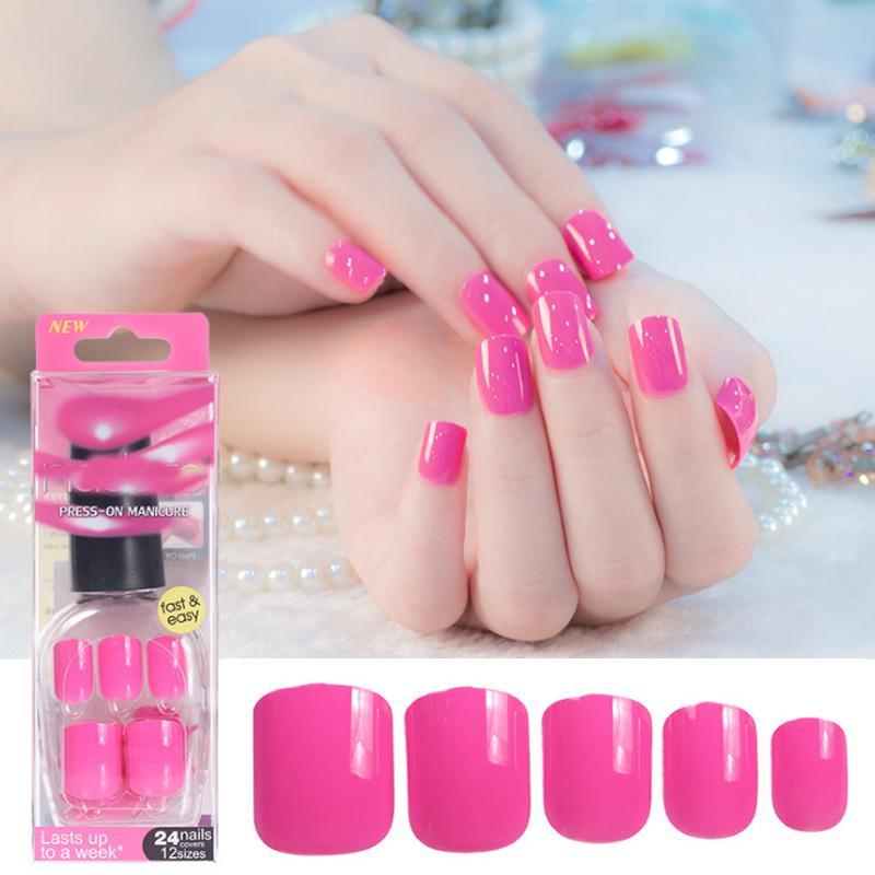 Belen Pure Color False Nails Red Pink Tips Short Length Artificial