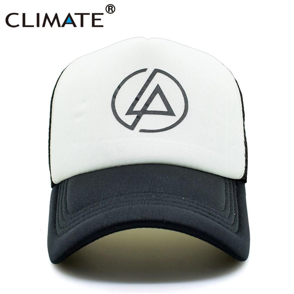 CLIMATE Linkin Park Rock Cool Trucker Cap Summer Rock  N  Roll  Music Band  Chester Cool Baseball Mesh Net Trucker Caps Hat Ball Caps Fitted Caps From  ... 472410e04f3