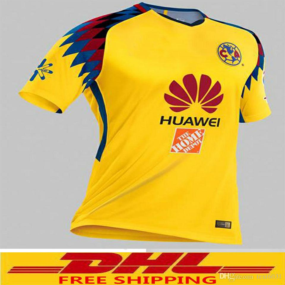 DHL Hot Sale 2017 2018 MX Club America Away Soccer Jerseys 2018 America  Third Away Yellow Thailand Quality Football Shirt Wel America Jerseys  Online with ...