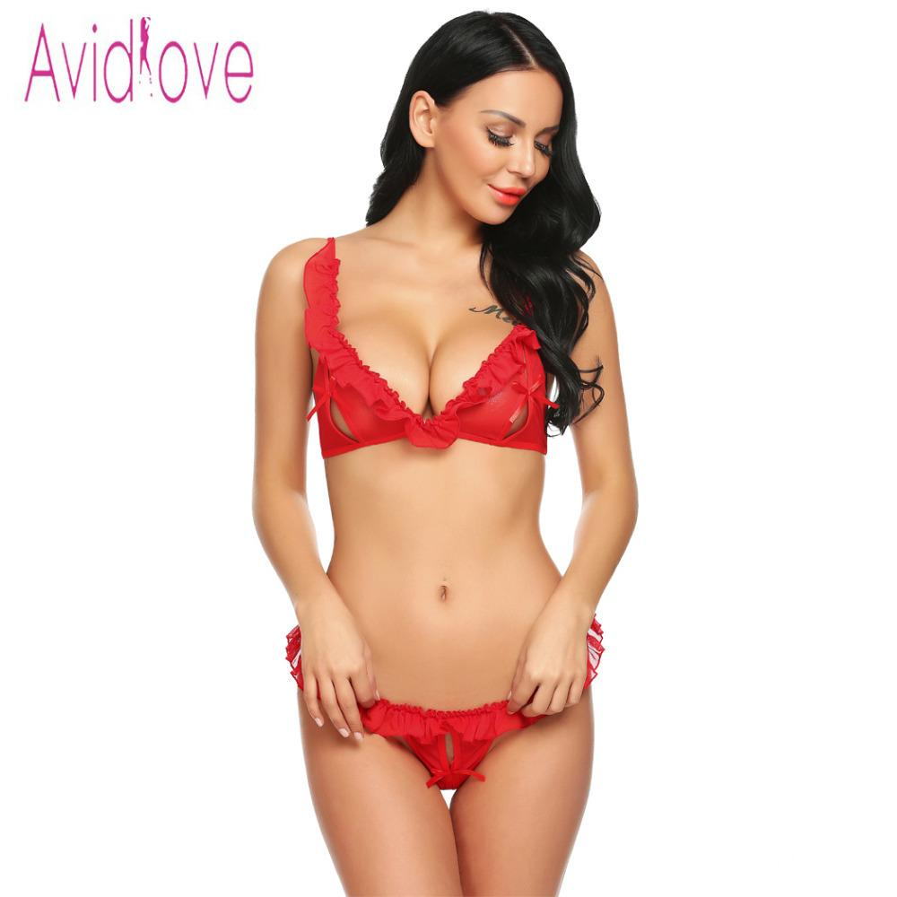 bdcc6fdb510 Avidlove 2018 New Women Sexy Costumes Crotchless Babydoll Lingerie Set  Sheer Mesh Ruffled Bra And Thong Panty Lenceria Y1892810 Bustier Set Cheap  Bra And ...