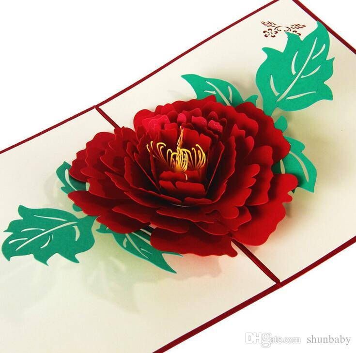 3D Pop Up Greeting Cards Peony Birthday Valentine Mother's Day Christmas Thanks Postcard Gift New free ship