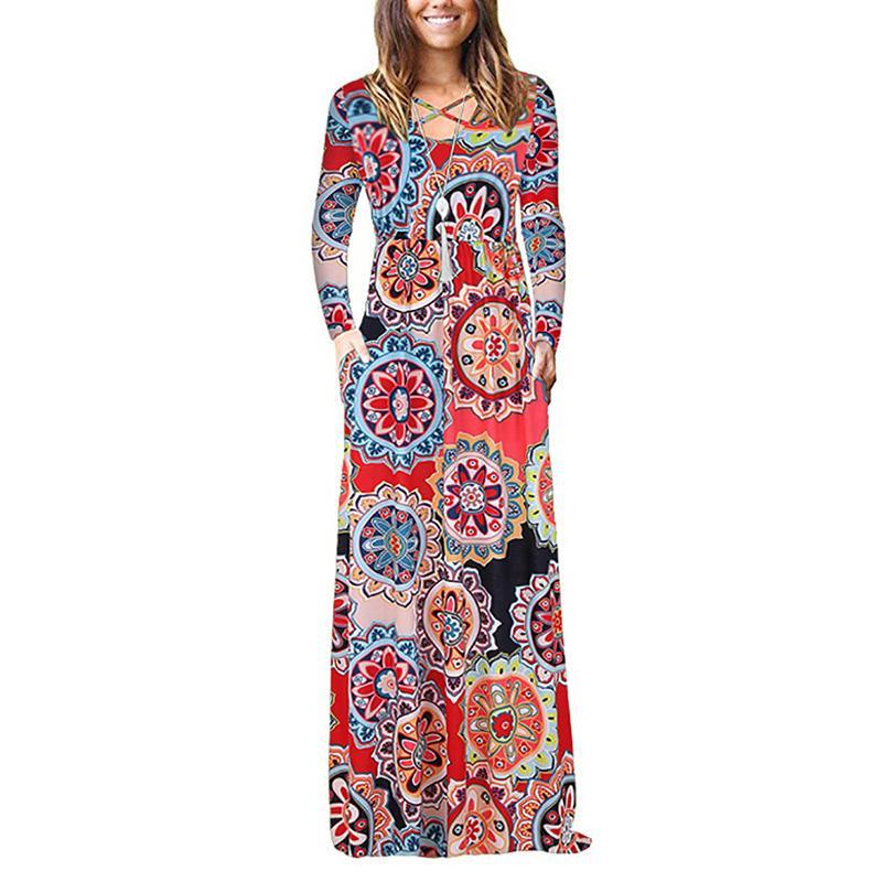 998fa1371d Compre Vestido Largo Estampado Bohemio De Las Mujeres Del Otoño Del Cordón  Del Vendaje De La Cruz Maxi Vestidos 2019 Longitud Del Piso Femenino Vestido  ...