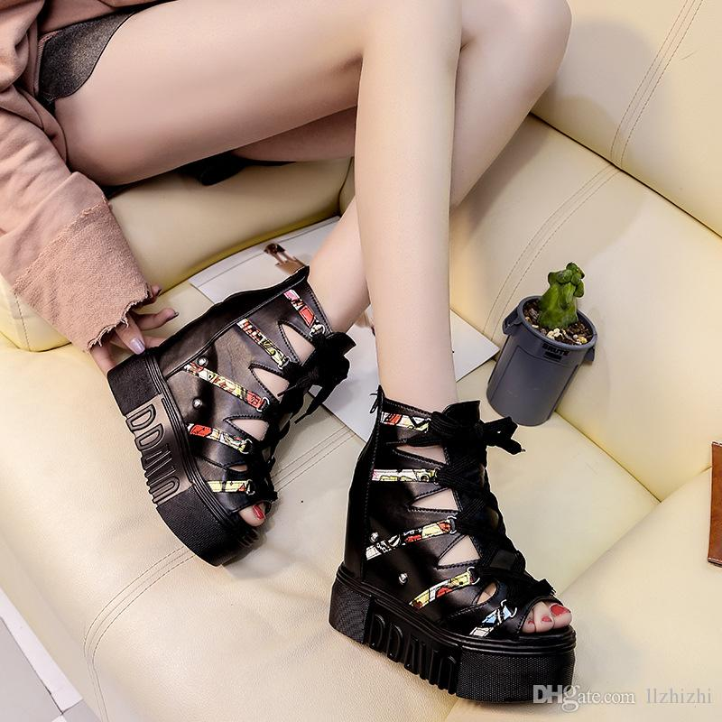 Summer new color matching hollow out fish-mouth Roman sandals.Korean version of muffin top 12cm high heel ladies fashionable sandals545