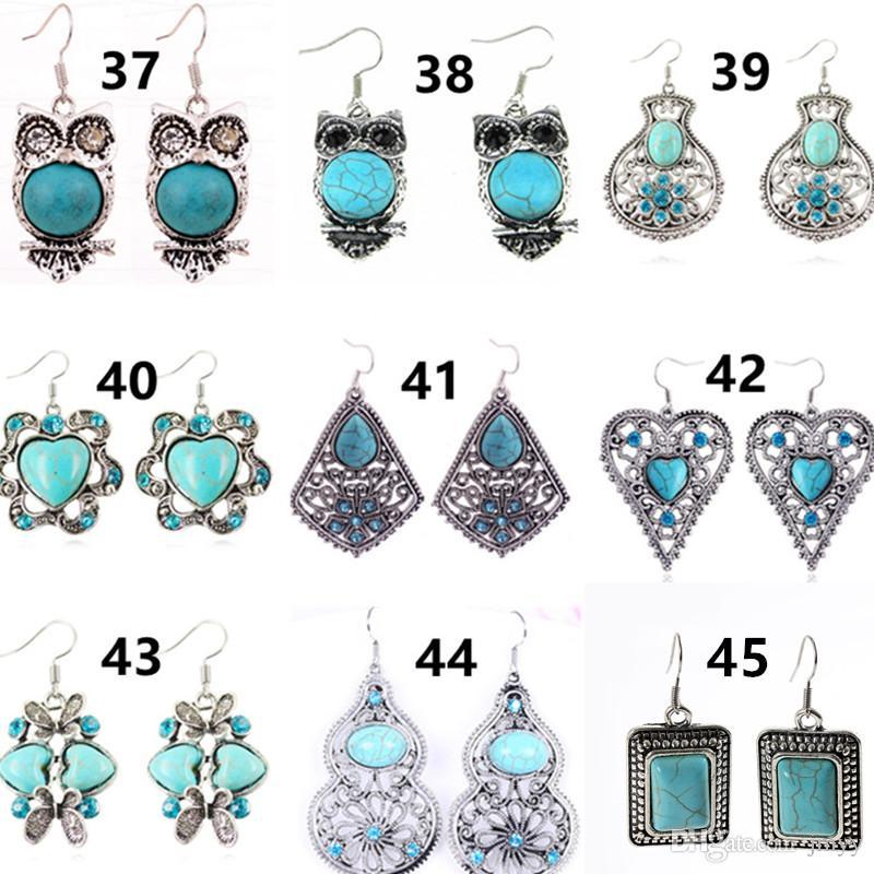 Bohemian Ohrringe Vintage Türkis Ohrringe Eule Herz Blume Feder baumeln Kronleuchter lange Ohrringe für Frauen Party Modeschmuck