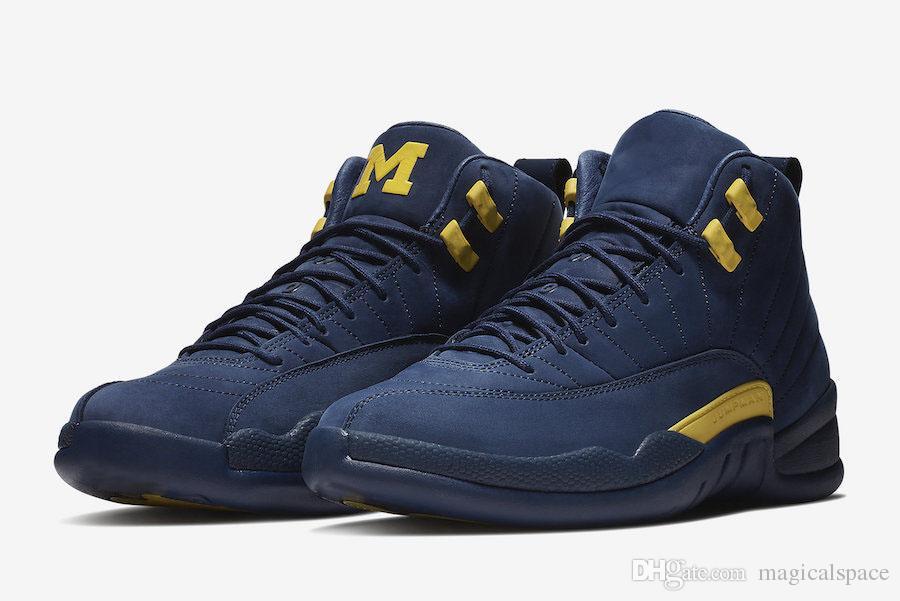 buy online b66f0 14333 Silver Men Basketball Shoes 2018 Auténtico 12 Michigan Psny Pe Public School  Hombre Zapatillas De Baloncesto Blue Suede Sports Sneakers 12s M Logo ...