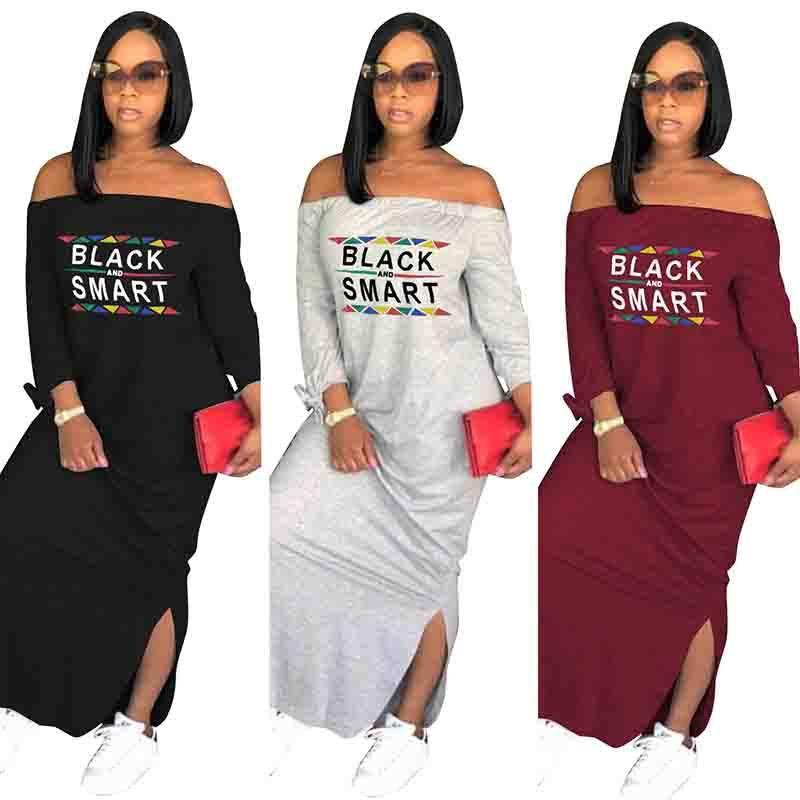 2018 Casual T Shirt Long Dresses Shoulder Off Dress Stitching Ladies