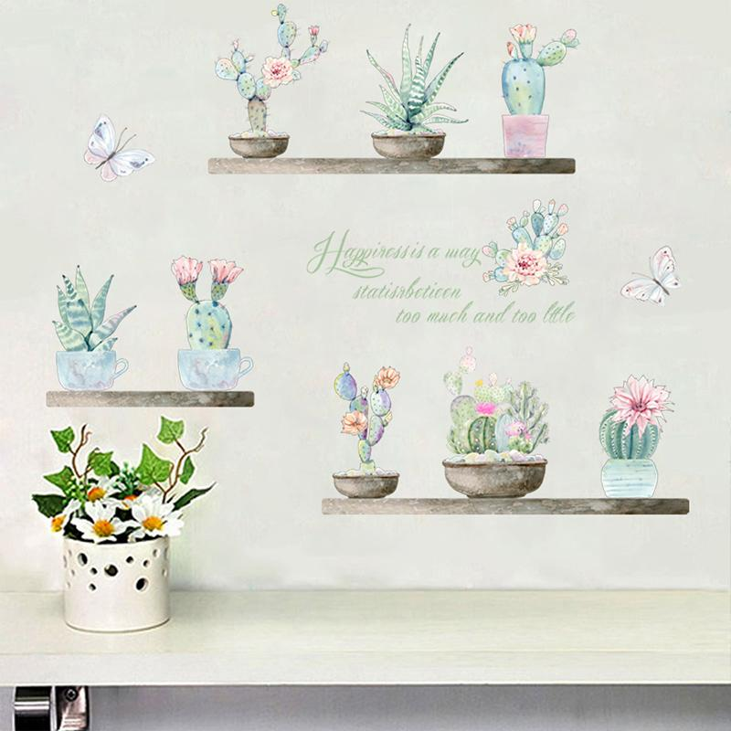 green cactus flower pot wall stickers living room home decoration