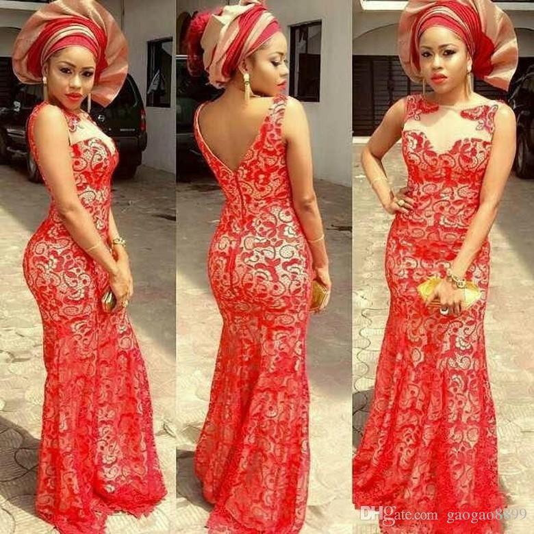 Hot Aso Ebi Nigerian Styles Vestidos de noche de encaje Fiesta de Baile de fiesta Sirena de encaje Vestido de fiesta Sheer Dubai Abaya Prom