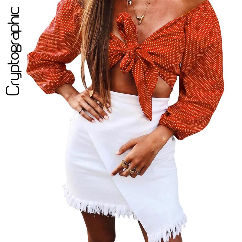 3f02148405451 2019 Cryptographic Chic Off Shoulder Wrap Blouse Shirt Crop Top Lace Up  Polka Dot Print Short Womens Tops And Blouses 2018 New Blusas From Maoyili
