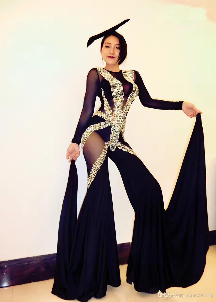 DJ Songbird Glisten Kristaller Tulum Büyük Tayt Kostüm Siyah Mash Perspektif Kıyafet Bodysuit Gece Kulübü Tulum Kadın Şarkıcı Sahne Aşınma