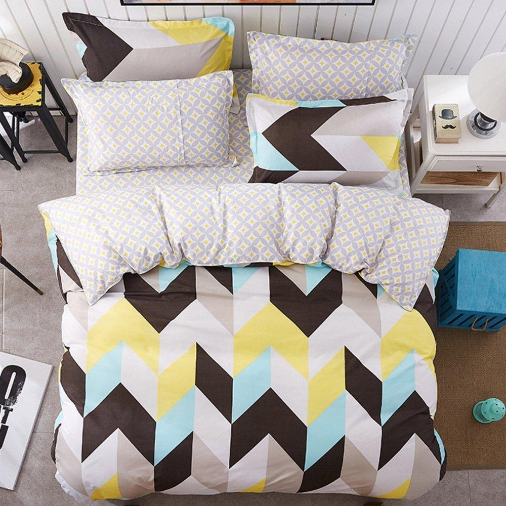 Delightful Bed Sheets Set Black White Yellow Blue Zig Zag Chevron Pattern 1 Flat Sheet  1 Duvet Cover And 2 Pillow Cases Queen Size Comforter Sets On Sale Duvets  Sets ...