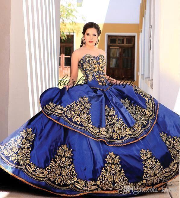 Royal Blue Gold кружева бальное платье Quinceanera платья милая вышивка Appliques с бисером сладкие 16 платья подметают поезд Quinceanera