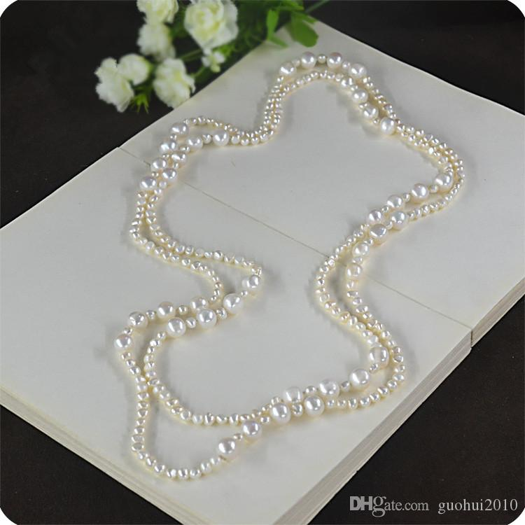 Hot sell elegant Natural white pink purple 3-4 mm 9-10 mm freshwater pearl sweater chain necklace 160 cm long fashion jewelry