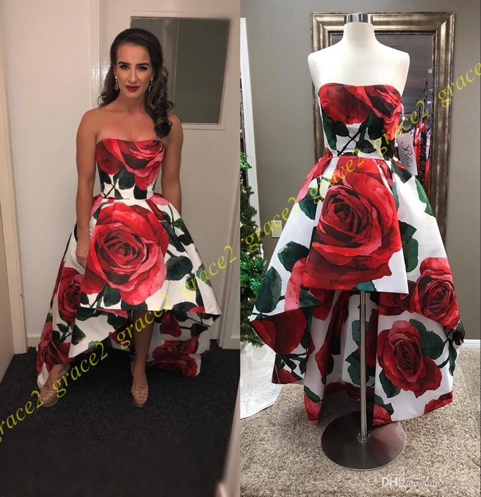 cadddd02f8e Print Floral Hi Lo Prom Dresses 2018 Roses Strapless Neck   Backless Real  Pictures 2k18 Winter Court Balls Gowns Red Carpet Runway Dress Kids Prom  Dresses ...