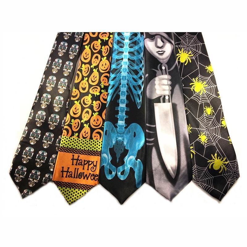halloween necktie with pumpkin skull designs party props halloween