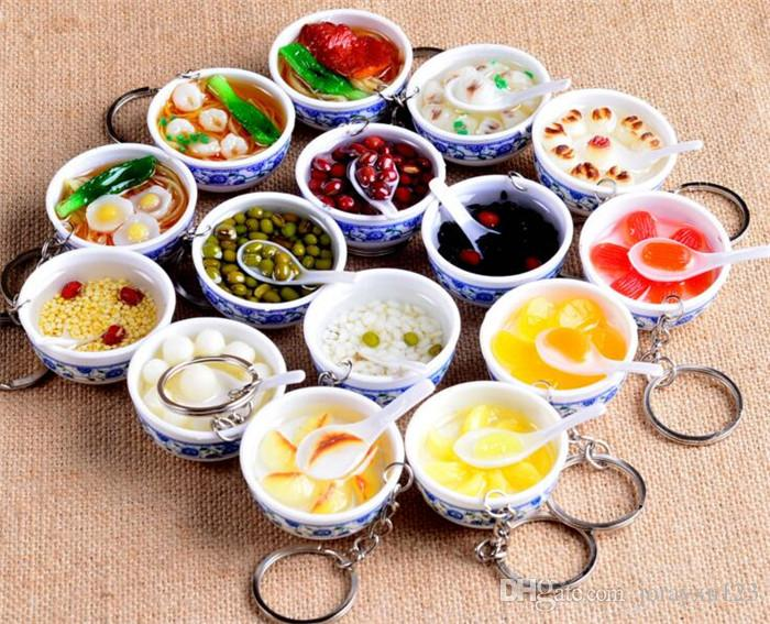 100pcs mixed styles Chinese Blue and white porcelain Food Bowl Mini bag pendant Simulation Food Key Chains Noodles Creative Keychain J117