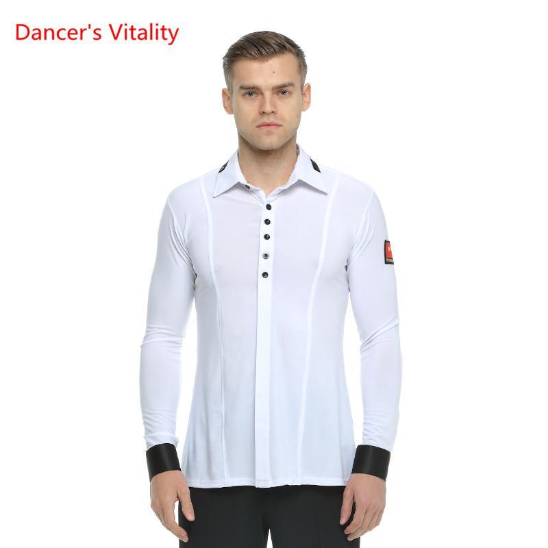 916e4ddd9878a Long Sleeves Ballroom Dance Shirt Adult Man Waltz Ballroom Latin ...