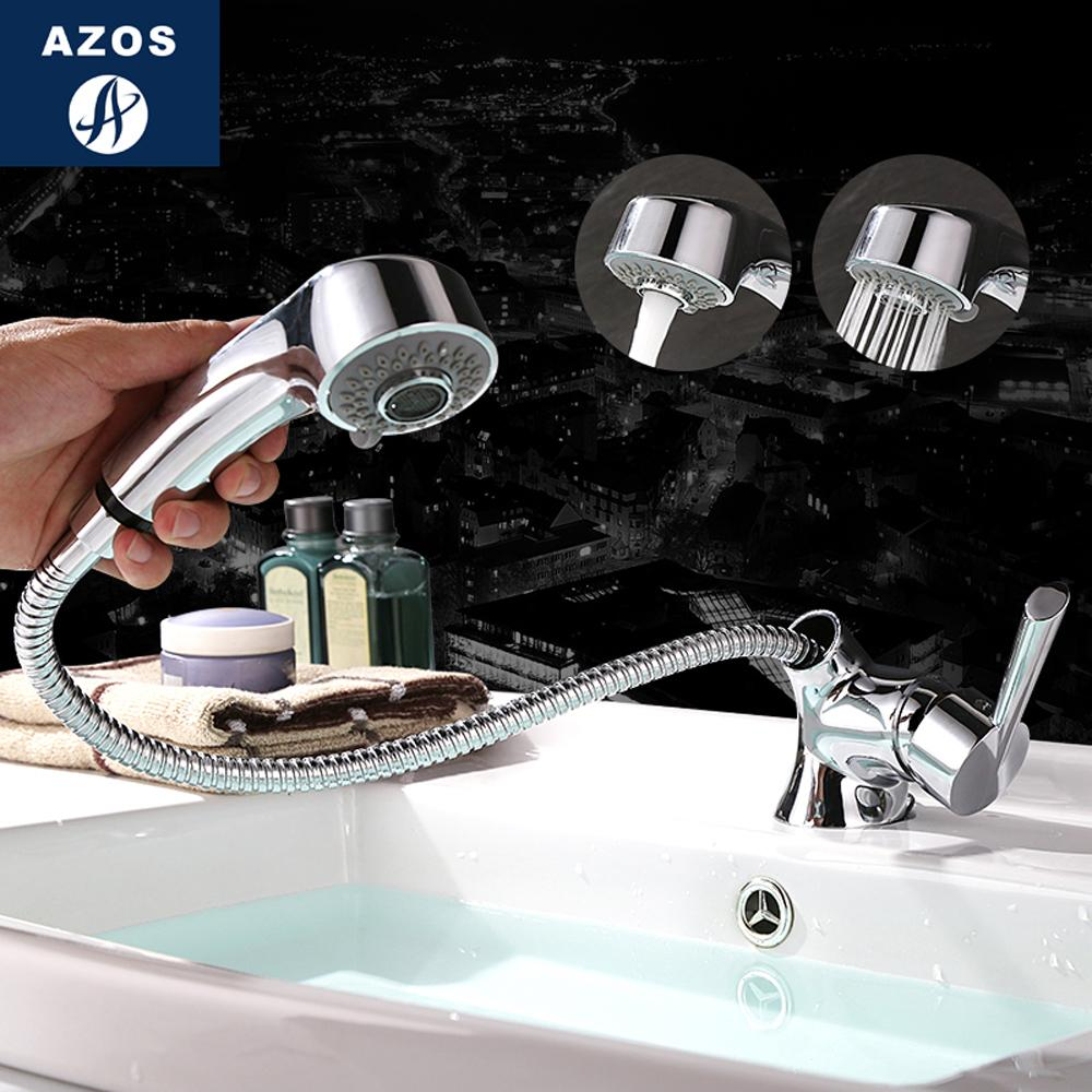 2018 modern bathroom faucet pull out shower head nozzle single handle swivel spout sink mixer tap chrome polish 2 modes clmp017z from qushimei88 - Modern Bathroom Faucets
