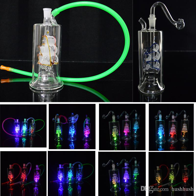 Colorful Bong LED Light Oil Rigs Bong in vetro per acqua 10mm Joint Sailing Boat Dab Rig 5 pollici Mini Sailboat Bubbler Perc con Banger 20