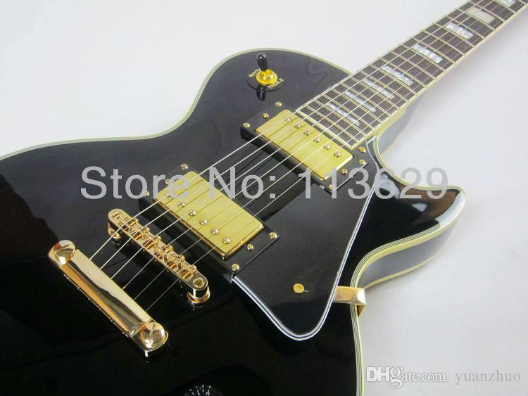 Factory wholesale Promotion!!! LP Custom Electric Guitar, Black Beauty, Golden Hadware