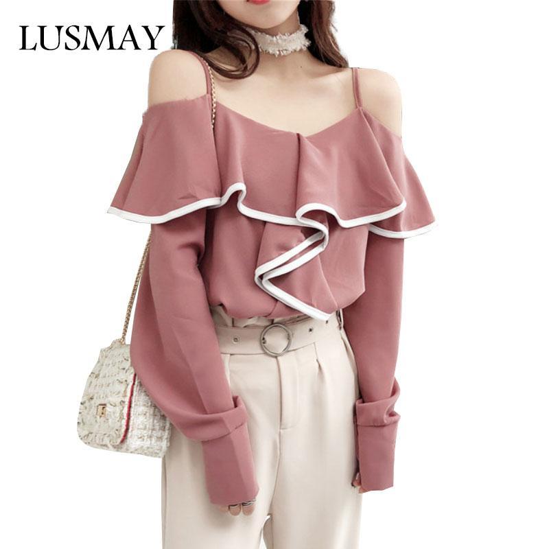 6db8cb68945fa7 2019 Spaghetti Strap Chiffon Blouse Spring 2018 Fashion Off Shoulder Tops  Women Streetwear Ruffle Long Sleeve Blouse White Black Pink From Vincant,  ...