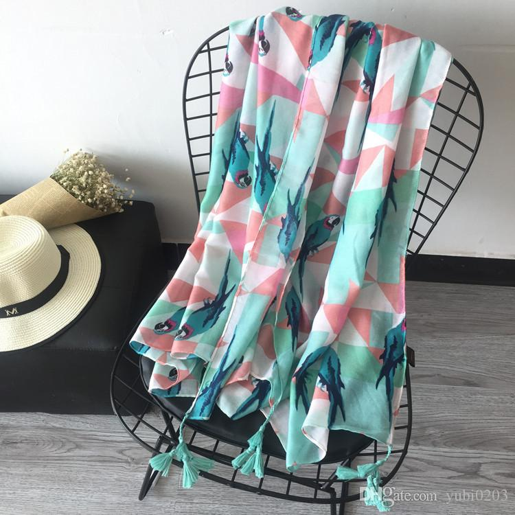 2018 new beach sunscreen beach shawl animal pattern cotton and linen style shawl scarf dual-use scarf female scarf