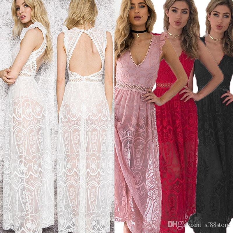 c4680a0c2820 2019 Sexy Hollow Out White Lace Dress Women Spring High Waist Sleeveless  Backless Dress Elegant Christmas Maxi Long Dress From Sf88store, $16.48    DHgate.