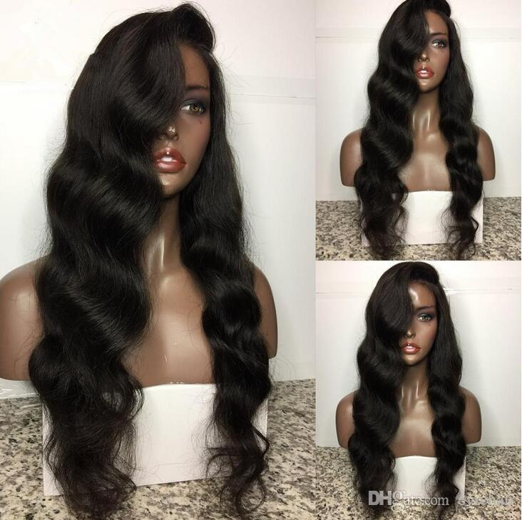 Loose Wavy Human Hair Full Lace Lace Front Wigs Natural Color Free Part Inexpensive Selling for Women