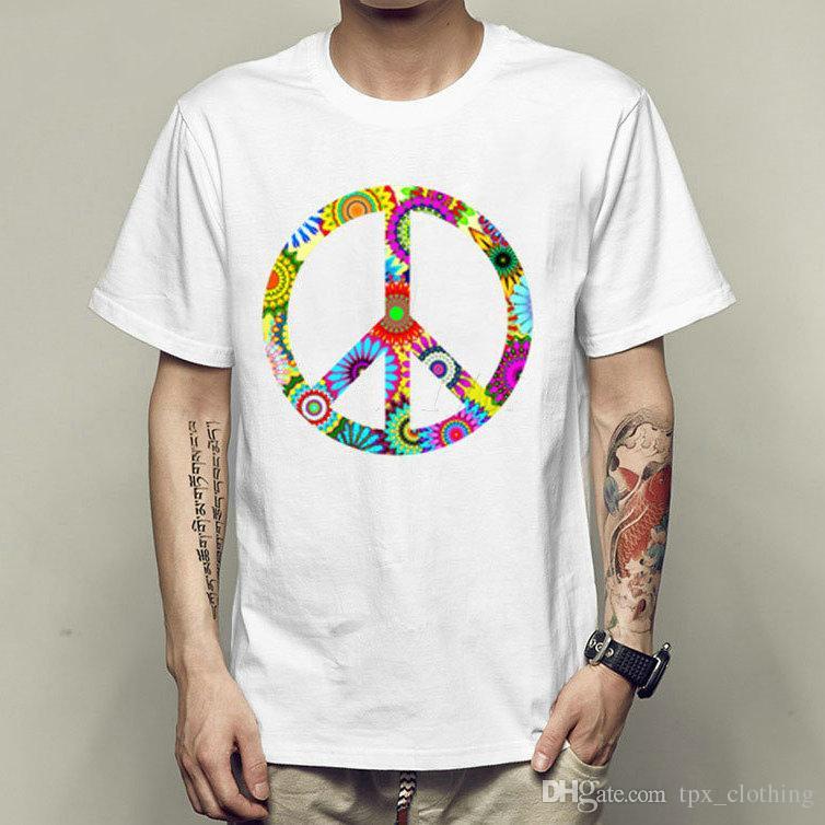 Peace Symbols T Shirt Anti War Short Sleeve Gown Cool Tees Unisex