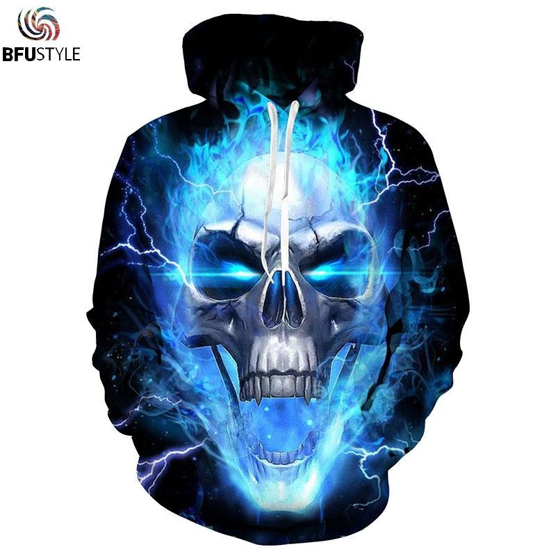 963006a8ede0 2019 2018 Men Women Blue Flame Skeleton Skull Hoodies 3D Hoodie Hoody  Pullover Sweatshirts Streetwear Tracksuit Plus EUR Size S 3XL From Boniee