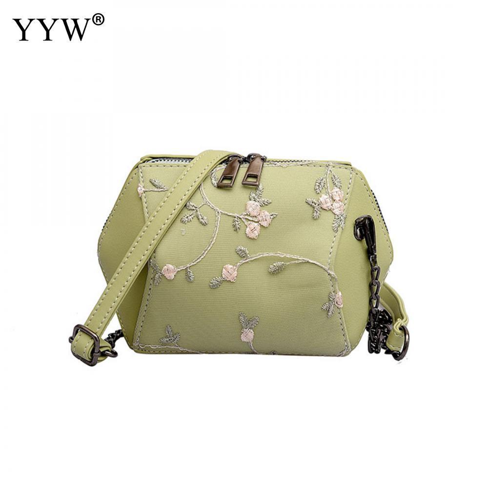 7ee60bf62db92 Großhandel Grüne Kette Floral Tote Handtaschen Neue Mode Tote Handle Kette  Hand Eimer Tasche Multifunktionale Party Abend Umhängetasche Mini Von  Cupbury