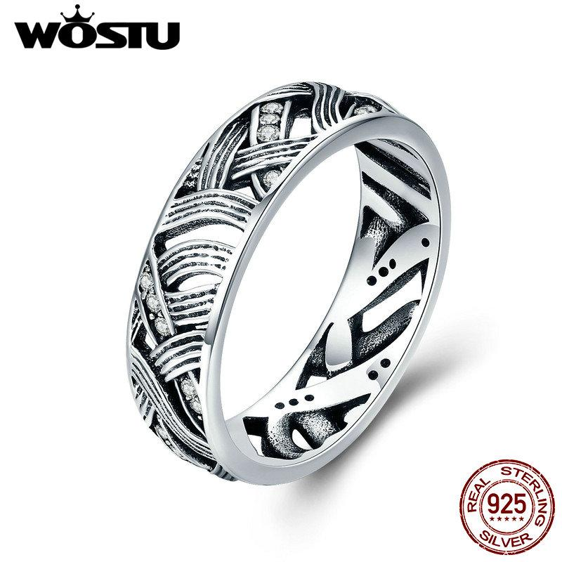a91609b9e943 WOSTU Authentic 925 Sterling Silver Vintage Stackable Retro Wave ...