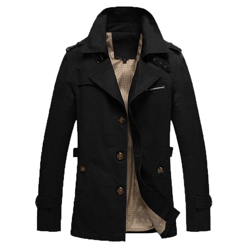 Jacket Men Casual Overcoat Jackets jaquetas de couro Hommes Plus size 5XL Army military Slim long windbreaker Mens trench coat