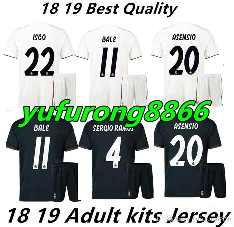 2018 2019 Real Madrid Home AWAY Soccer Jersey Kit 17/18 third blue soccer shirt Bale Football uniforms Asensio SERGIO RAMOS